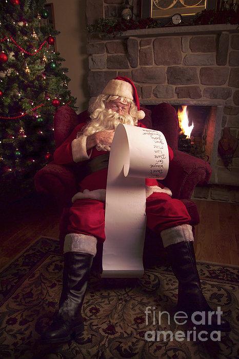 Santa Checking His List Print by Diane Diederich