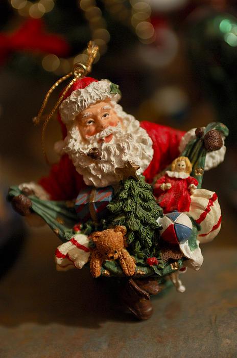Santa Claus - Antique Ornament - 04 Print by Jill Reger