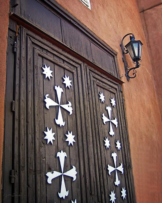 Santa Cruz De La Canada Mission Doors Print by Julie Magers Soulen