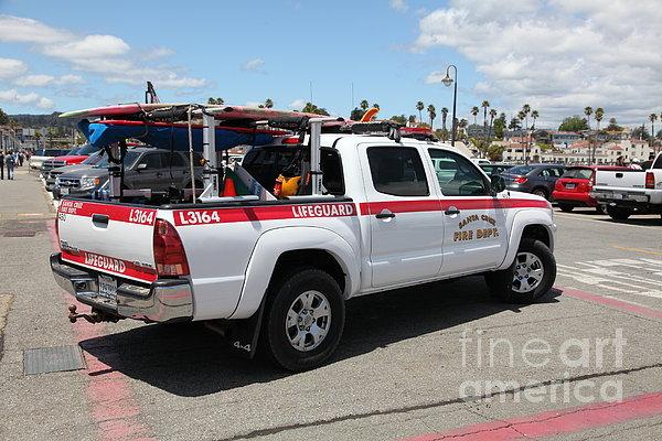 Santa Cruz Fire Department Lifeguard Truck On The Municipal Wharf At Santa Cruz Beach Boardwalk Cali Print by Wingsdomain Art and Photography