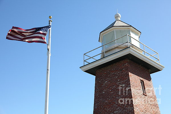Santa Cruz Lighthouse Surfing Museum California 5d23951 Print by Wingsdomain Art and Photography