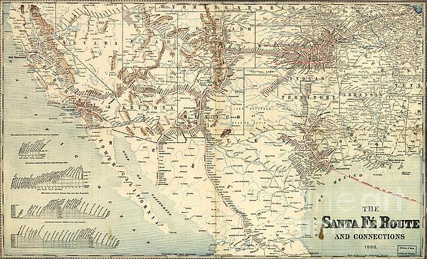 Santa Fe Railroad Routes  1888 Print by Pg Reproductions