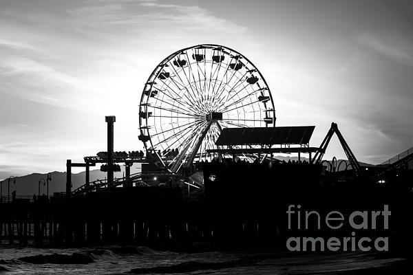 Santa Monica Ferris Wheel Black And White Photo Print by Paul Velgos