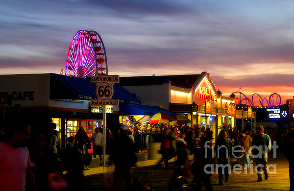 Santa Monica Pier At Sunset Print by Diana Sainz