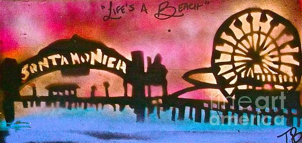 Santa Monica Pier Red Print by Tony B Conscious