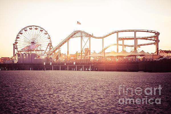 Santa Monica Pier Roller Coaster Retro Photo Print by Paul Velgos