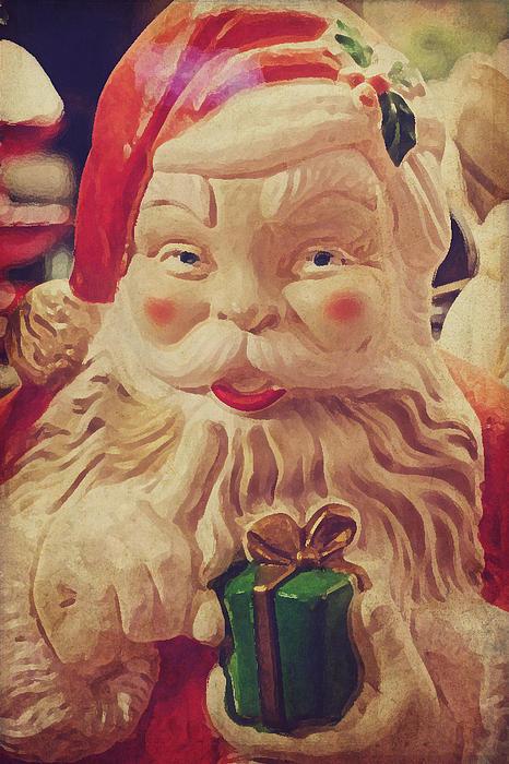 Santa Whispers Vintage Print by Toni Hopper