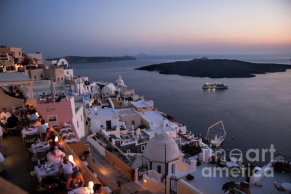 Santorini At Dusk Print by David Smith