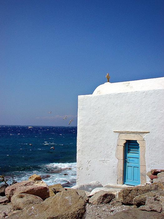 Julie Palencia - Santorini Chapel by the Sea