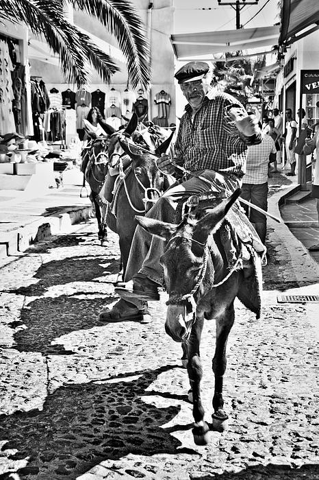 Santorini Donkey Train. Print by Meirion Matthias