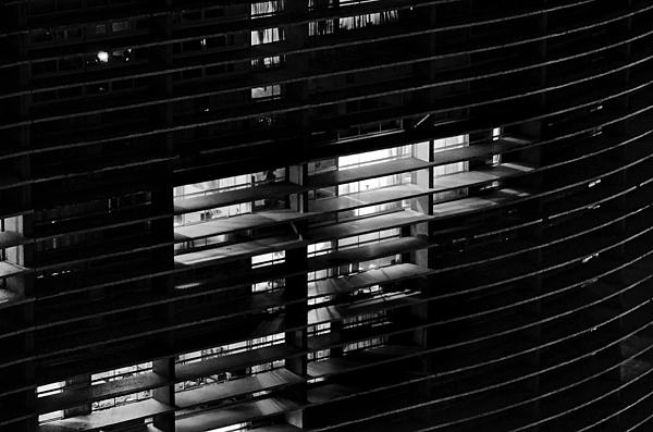 Sao Paulo - Brazil - Detail Of Copan Building By Night Print by Carlos Alkmin