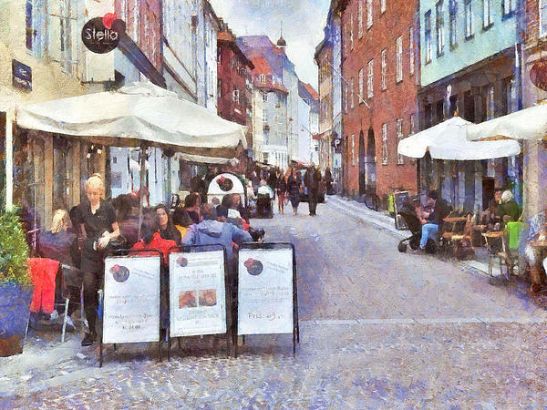 Saturday Brunch At A Copenhagen Cafe Print by Digital Photographic Arts