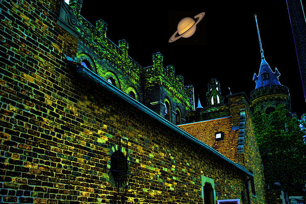 Saturn Over Pabst Brewery Fantasy Image Of Abandoned Home Of Blue Ribbob Beer From 1860 Print by Lawrence Christopher