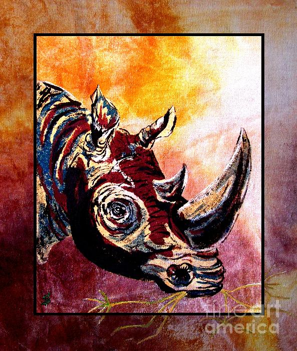Save The Rhino Print by Sylvie Heasman