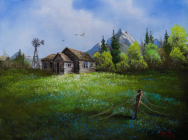 Sawtooth Mountain Homestead Print by C Steele