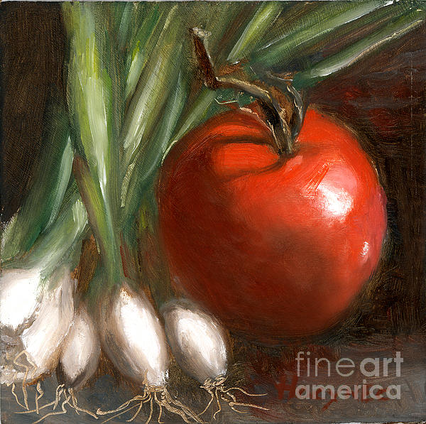 Scallions And Tomato Print by Addie Hocynec