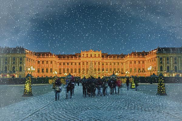 Schonbrunn Christmas Market Print by Joan Carroll