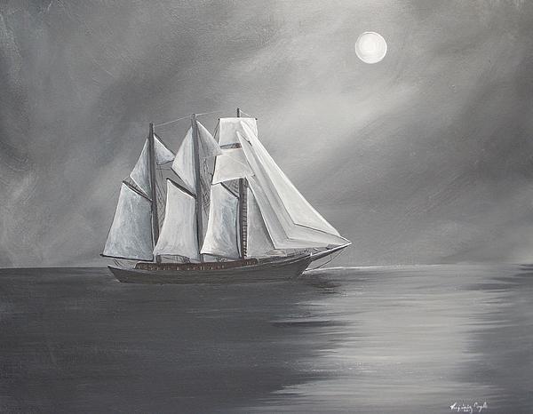 Schooner Moon Print by Virginia Coyle