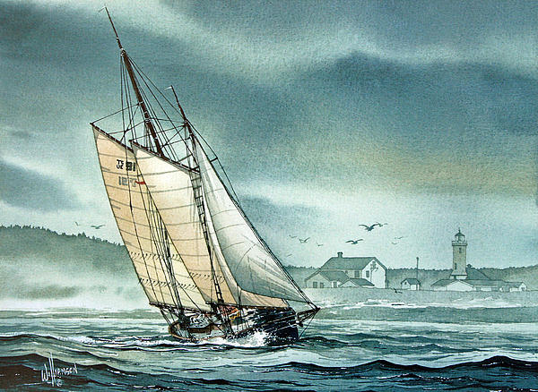 Schooner Voyager Print by James Williamson
