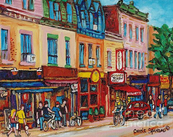 Schwartzs Deli And Warshaw Fruit Store Montreal Landmarks On St Lawrence Street Print by Carole Spandau