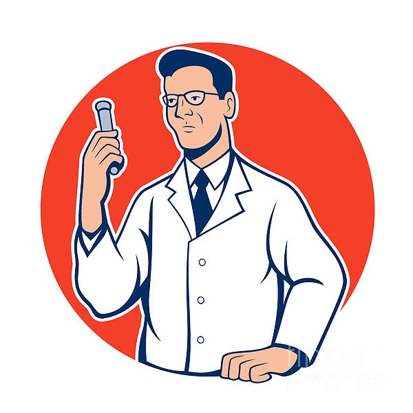 Scientist Lab Researcher Chemist Cartoon Print by Aloysius Patrimonio