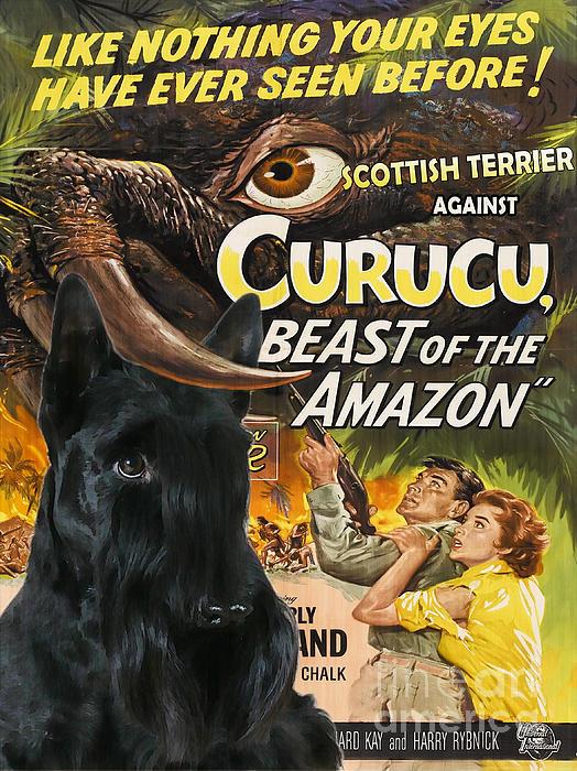 Scottish Terrier Art Canvas Print - Curucu Movie Poster Print by Sandra Sij
