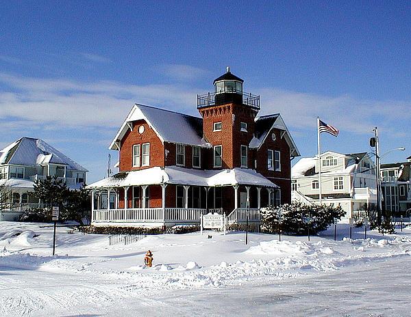 Sea Girt Lighthouse In The Snow Print by Melinda Saminski