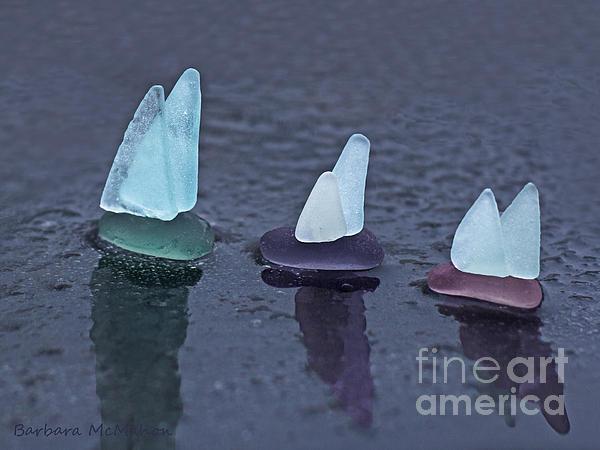 Sea Glass Flotilla Print by Barbara McMahon