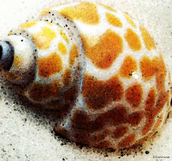 Sea Shell Beach Painting Art Print by Sharon Cummings