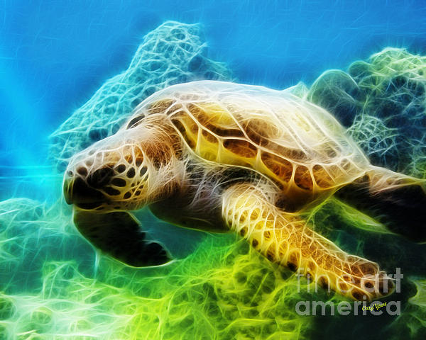 Sea Turtle 1 Print by Cheryl Young