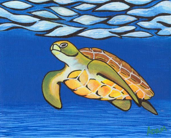 Sea Turtle Print by Adam Johnson