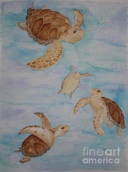Sea Turtle Family Print by Carol Fielding