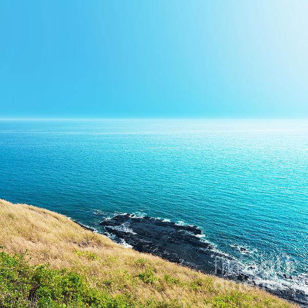 Sea Views From Cliffs Print by Atiketta Sangasaeng