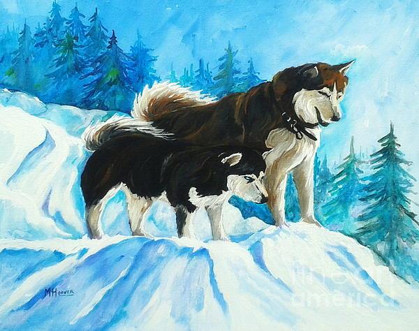 Searching Huskies Print by MarLa Hoover