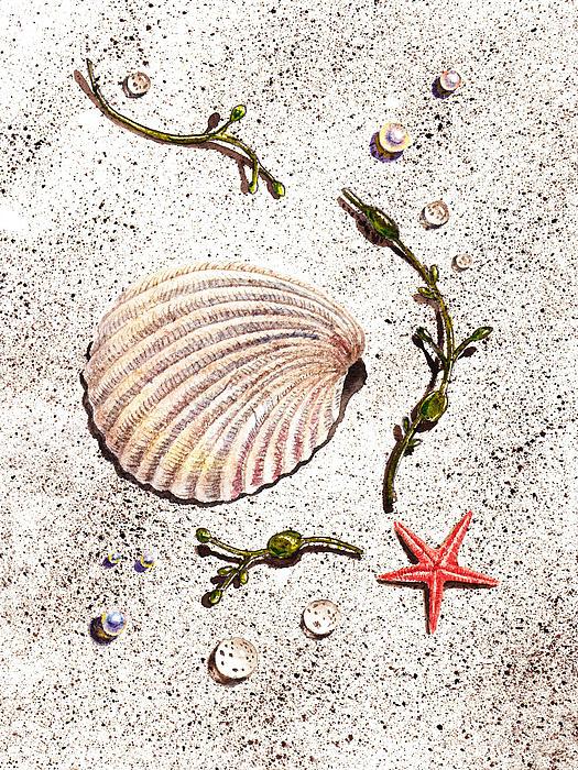 Seashell Sea Star And Pearls On The Beach Print by Irina Sztukowski