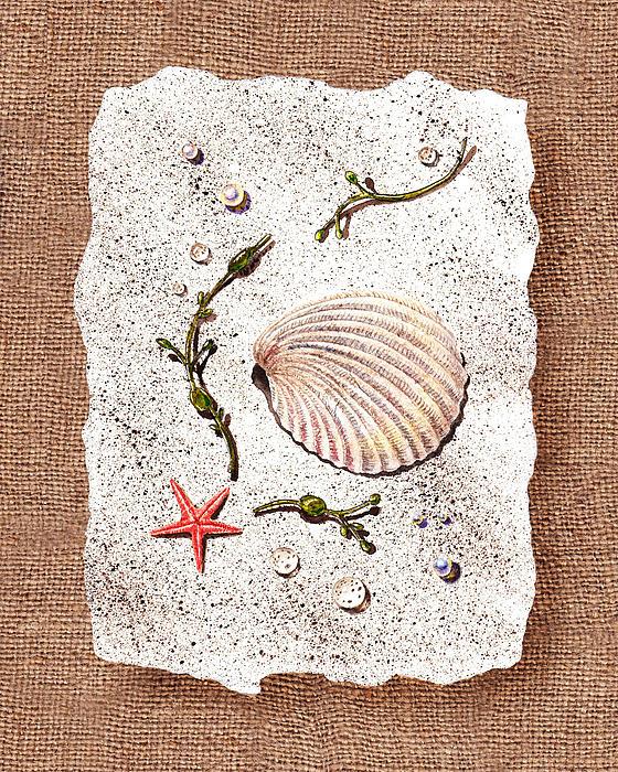 Seashell With Pearls Sea Star And Seaweed Print by Irina Sztukowski