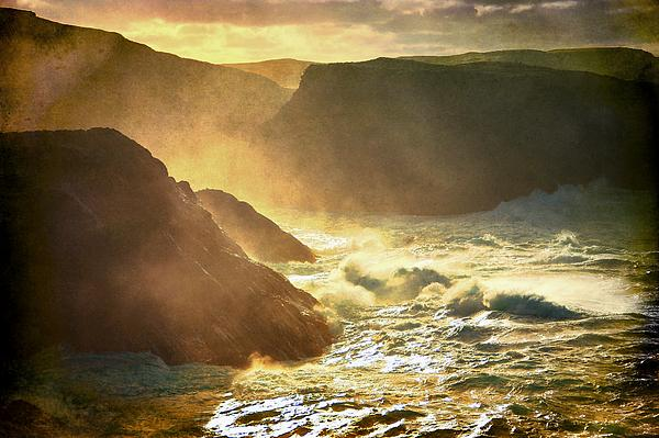 Seaspray Rising Up The Cliffs Print by Anne Macdonald