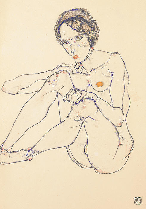 Seated Female Nude Print by Egon Schiele