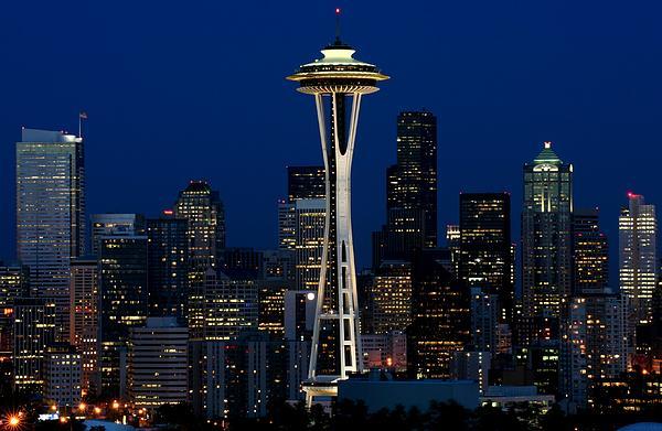 Seattle Skyline At Night Print by Jetson Nguyen