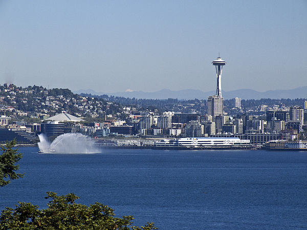 Seattle Space Needle And Fire Boat Print by Ron Roberts