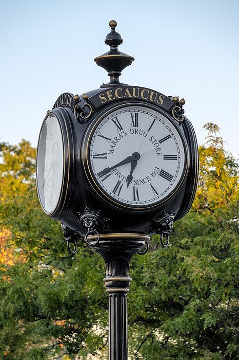 Secaucus Clock Marras Drugs Print by Susan Candelario