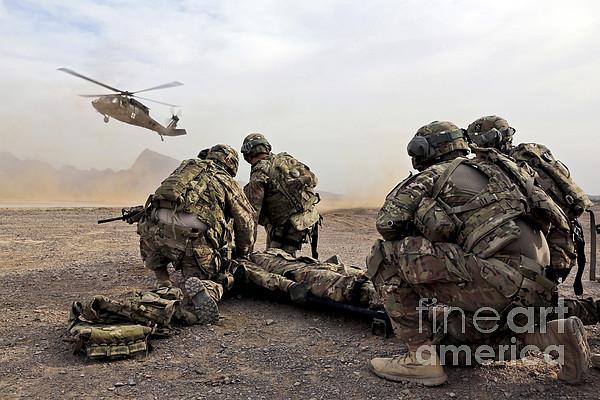 Security Force Team Members Wait Print by Stocktrek Images