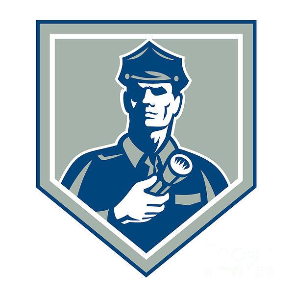 Security Guard Flashlight Shield Retro Print by Aloysius Patrimonio