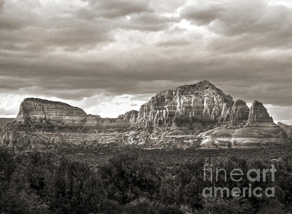 Sedona Arizona Black And White Mountains And Big Sky Print by Gregory Dyer