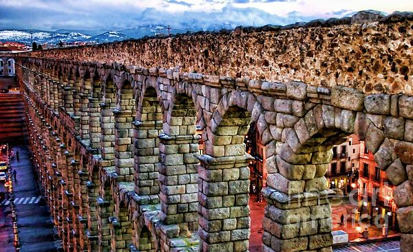 Segovia Aqueduct Spain By Diana Sainz Print by Diana Sainz