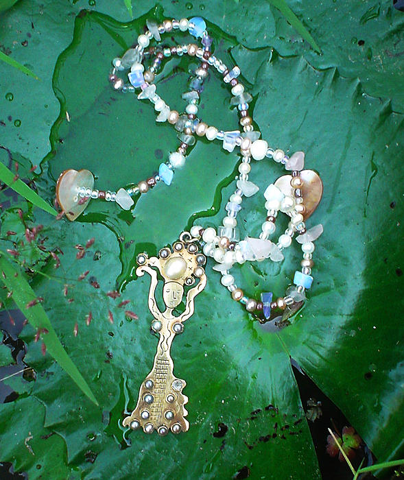 Self-esteem Necklace With Offerings Goddess Pendant Print by Jelila Jelila