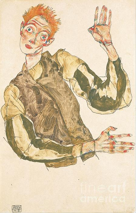 Self Portrait With Striped Armlets Print by Pg Reproductions