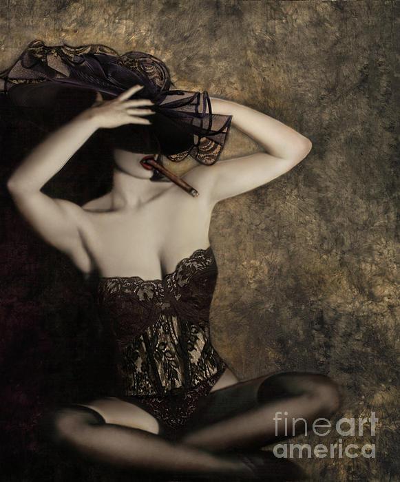 Sensuality In Sepia - Self Portrait Print by Jaeda DeWalt