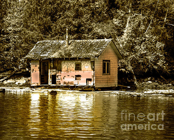 Sepia Floating House Print by Robert Bales