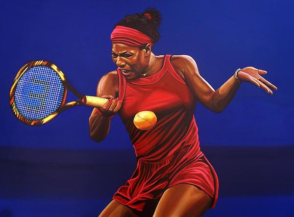 Serena Williams Painting Print by Paul  Meijering